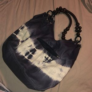 Bueno White and Navy tie-dyed purse
